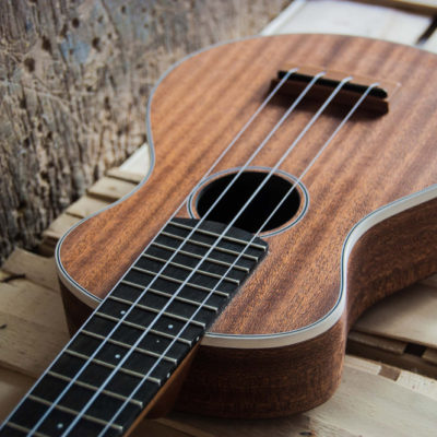 Mahogany Soprano. Mahognay soundboard, back, sides and neck. Ebony fingerboard and plastic bindings.