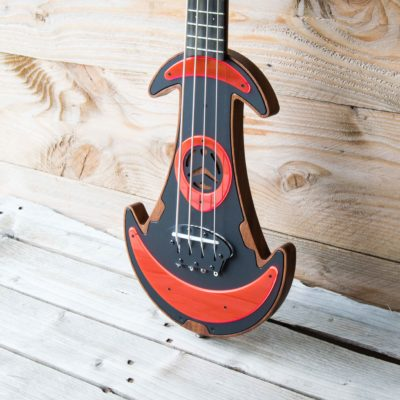 Red Fluo UFOS Electric Ukulele Bass